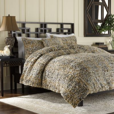 Luxury Fur King Duvet Cover and Sham Set in Leopard