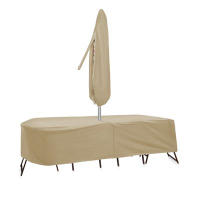 Protective Covers by Adco Oval/Rectangle 135-Inch x 80-Inch Table and Chair Cover with Umbrella Hole