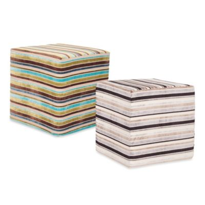 Howard Elliott® No Tip Block Ottoman in Ribbon