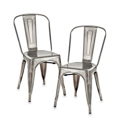 Crosley Amelia Café Chairs in Galvanized Metal (Set of 2)