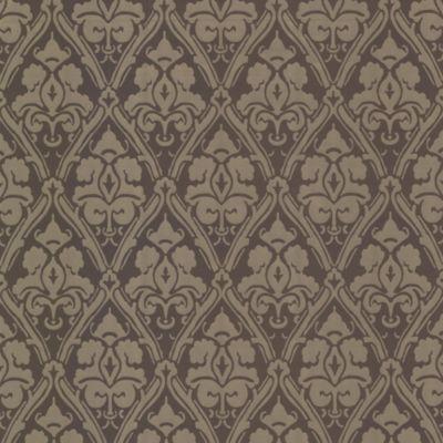 Damask Wallpaper Sample in Brown