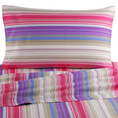 Colorful Dreams Full Sheet Set in Pink Stripe
