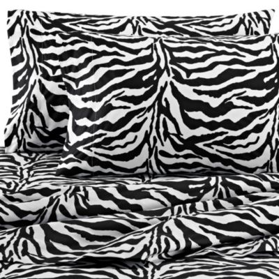 Safari 300-Thread-Count Zebra California King Sheet Set in Black
