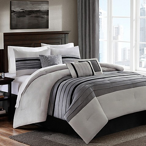 Dylan 6 7 Piece Suede Comforter Set In Grey Bed Bath