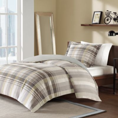 Holden Twin Reversible Duvet Cover and Sham Set - Tan