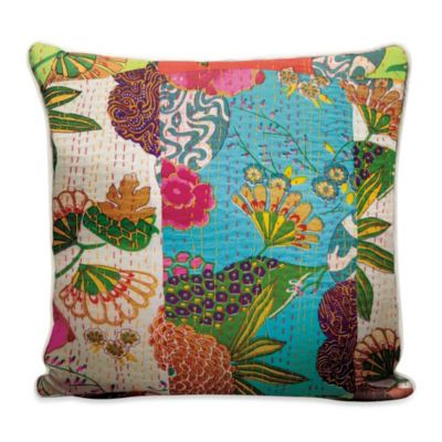 Multi Floral Patchwork Square Toss Pillow