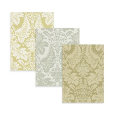 Modern Damask Wallpaper in Mustard