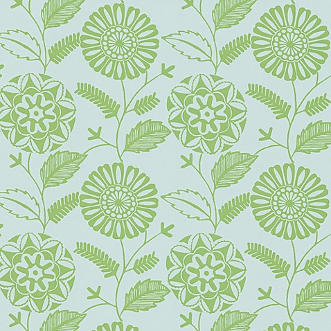 echo design� modern floral print wallpaper sample in green