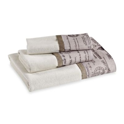Edwardian Script Natural Hand Towel
