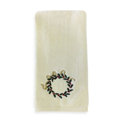 Holly Wreath Hand Towel (Set of 2) by Saturday Knight Limited