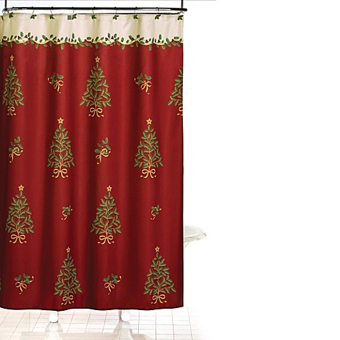 Holly Tree 70-Inch x 70-Inch Shower Curtain and Hook Set