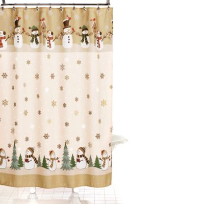 Heartland Snowman 70-Inch x 70-Inch Shower Curtain and Hook Set