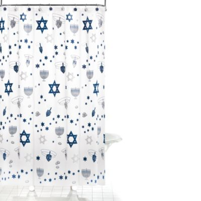 Happy Hanukkah 72-Inch x 72-Inch Shower Curtain and Hook Set