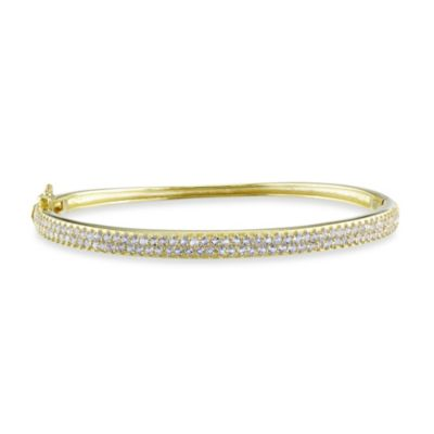 Yellow Plated Sterling Silver White Topaz Bangle Bracelet
