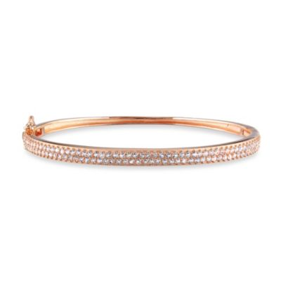 Rose Plated Sterling Silver White Topaz Bangle Bracelet
