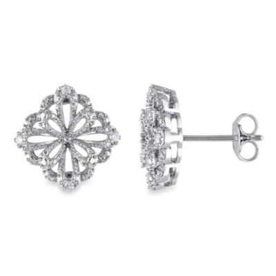 Sterling Silver White Diamond 1/10 cttw Ear Pin Earrings