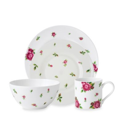 New Country Roses White Casual 4-Piece Place Setting