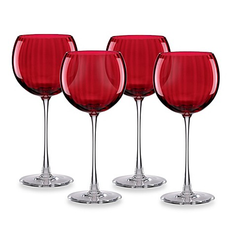 Buy Lenox Holiday Optics Wine Balloons Glass Set In Red