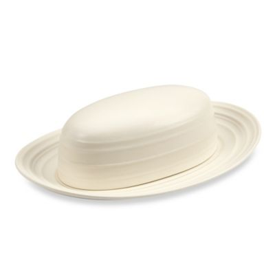 Swirl White 9-Inch Covered Butter Dish