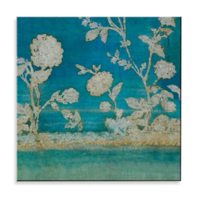 Matthew Menger Arial Floral Plate Glass Wall Decor in Blue