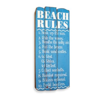 Beach Rules Plaque Wall Art