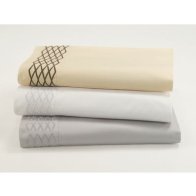 Waterford® Linens Diamond Stitch Standard Pillowcase Pair in Beige