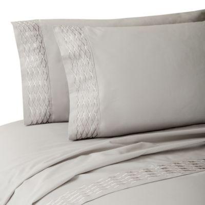 Waterford® Linens Diamond Stitch California King Deep Pocket Sheet Set in Platinum