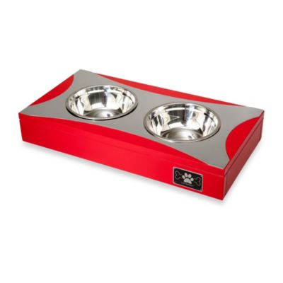 LAZYBONEZZ™ Double Feeding Dish in Red