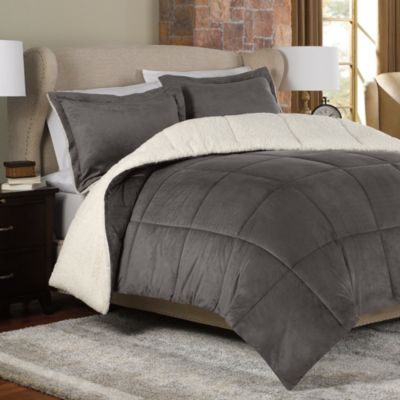 The Seasons®  Reversible Down Alternative Full/Queen Comforter Set in Charcoal