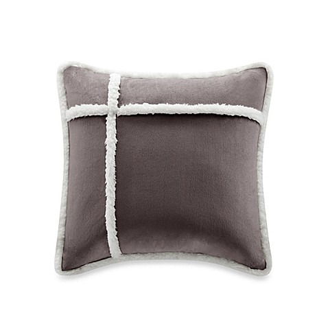 Down Alternative Decorative Pillows : The Seasons Reversible Down Alternative Square Throw Pillow in Charcoal - Bed Bath & Beyond