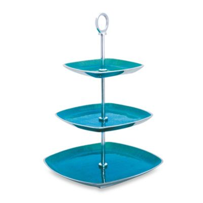 Simply Designz Bodoni Collection 3-Tier Server in Turquoise
