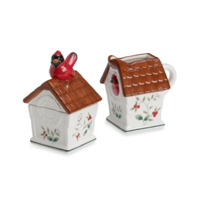 Pfaltzgraff® Winterberry Cardinal Birdhouse Sugar and Creamer Set