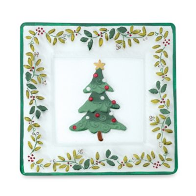 Pfaltzgraff® Winterberry Square Glass Christmas Tree Platter