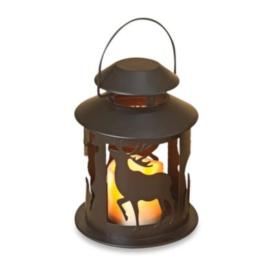 8-Inch Round LED Lodge Lantern with Deer Design