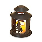 8-Inch Round LED Lodge Lantern with Tree Design