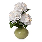 12-Inch Battery Operated LED Lighted White Hydrangea Arrangement