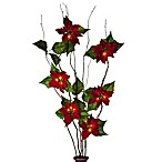 39-Inch Battery Operated Lighted Red Poinsettia Branches