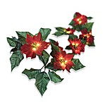 6-Foot Battery Operated Wrapped Lighted Red Poinsettia Garland