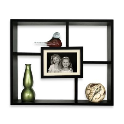 Windowpane Shadowbox Shelf with 5-Inch x 7-Inch Photo Frame