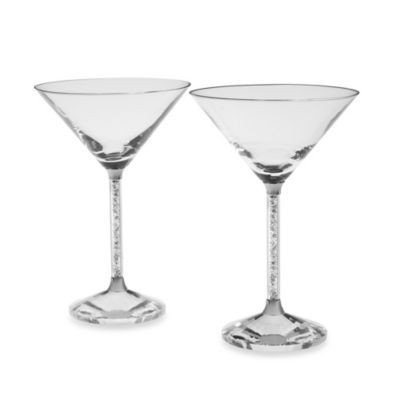 Oleg Cassini Crystal Diamond Martini Glasses (Set of 2)