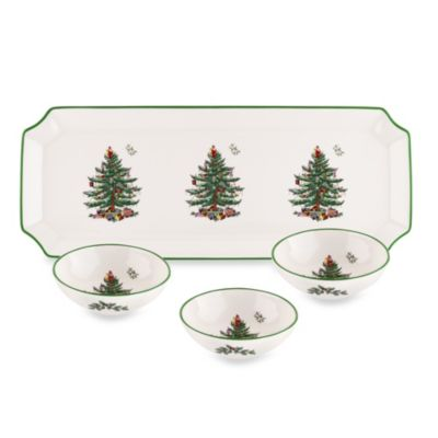 Spode® Christmas Tree Sanwich Tray with 3 Dippng Dishes