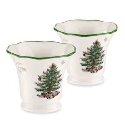 Spode® Christmas Tree Tealight Holders (Set of 2)