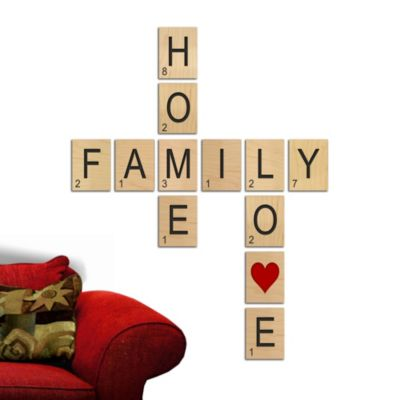 "Game Tile ""Family"", ""Love"", ""Home"" Wall Art Set"