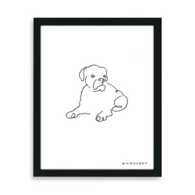 Boxer Framed Line Drawing