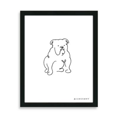 Framed Bulldog Line Drawing