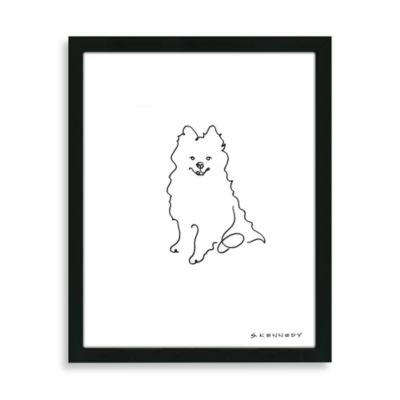 Pomeranian Framed Line Drawing
