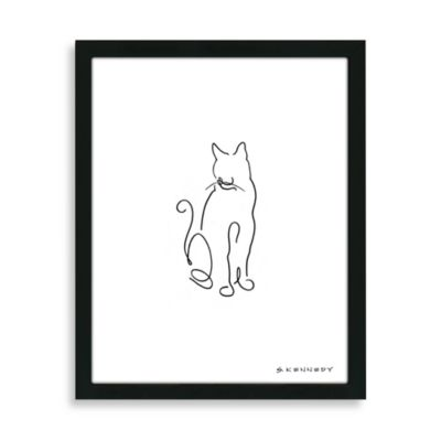Cat Line Framed Drawing