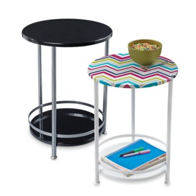 Round Side Table with Bottom Storage Shelf
