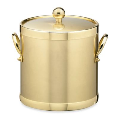 Kraftware™ Americano Brushed Brass 3-Quart Ice Bucket with Metal Handles