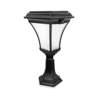 Nature Power Kona Collection 19-Inch Solar Powered Lamp in Black with 2 Installation Choices